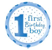 """Фольгированный шар """"1-ый День рождения мальчика,"""", круг 18""""/46 см"""