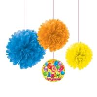 """Набор для декорации помпоны """"С днем рождения!"""" шарики, 3 шт + подвес"""