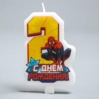 """Свеча в торт """"С днем рождения"""", цифра 2, Человек-Паук"""