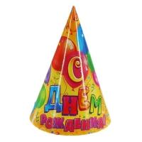 """Колпак бумажный """"С Днем Рождения""""шарики (набор 6 шт)"""