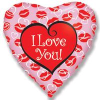 """Шар (18""""/46 см) Сердце, Я люблю тебя (поцелуи), Розовый"""
