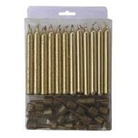 Свечи Золотые с блестками 24(12+12)шт с держателями 6см