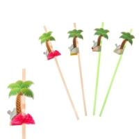 "Трубочка для коктейля ""Пальма"" ( набор 12 шт), цвета МИКС"