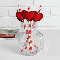 Трубочки для коктейля «Спиралька», с сердцем, цвет красный, набор 6 шт.