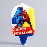 """Свеча в торт 4 """"С Днем Рождения"""", Человек-паук"""