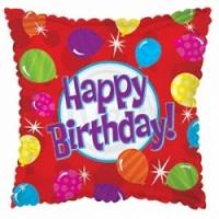 """Фольгированный шар """"С Днем рождения (яркие шары)"""", Квадрат, Красный 18""""\46 см"""