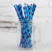 Трубочка для коктейля «Сияние», набор 25 шт., цвет голубо-синий