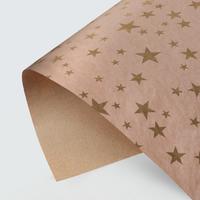 Бумага упаковочная крафтовая «Звезды», золотая краска, 70 × 100 см
