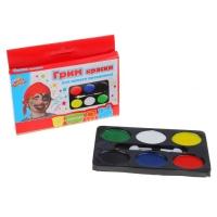 Краски - аква грим : 6 цветов + аппликатор