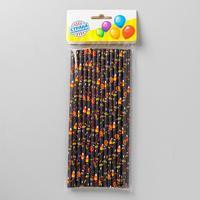 Трубочки для коктейля «Хэллоуин», набор 25 шт., цвет чёрный