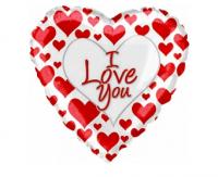 """Шар Фольгированный Сердце Я люблю тебя (простые красные сердечки)(18""""/46 см)"""