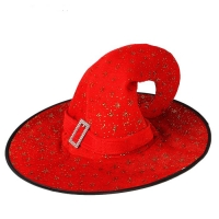 Карнавальная шляпа ведьмочка звезды красная 30*40*40