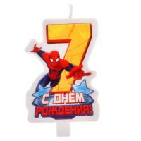 """Свеча в торт """"С днем рождения"""", цифра 7, Человек-Паук"""