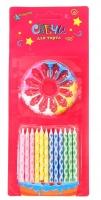 """Свечи восковые для торта """"Ромбики"""" (набор 12 шт и 12 подставок)"""