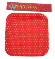 Тарелка мелкий горох красная ( набор 6 шт) 23 см