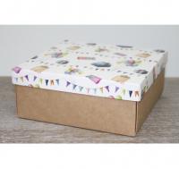 Подарочная коробка 250*250*80мм, с крафт дном, подарки