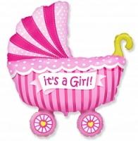 Фольгированный шар (40»/102 см) , Коляска для девочки, Розовый, 1 шт.