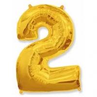 Фольгированный шар (40»/102см) Цифра, 2, Золото
