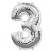 """Фольгированный шар (40""""/102 см) Цифра, 3, Серебро"""