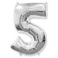 Фольгированный шар цифра 5 (40»/102см),Серебро