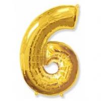 """Фольгированный шар (40""""/102 см) Цифра, 6, Золото"""