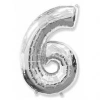"""Фольгированный шар (40""""/102 см) Цифра, 6, Серебро"""
