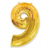 Фольгированный шар цифра 9 (40»/102 см), Золото