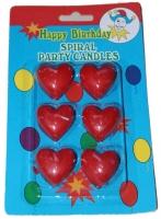 Свечи в торт сердечки, 6 шт