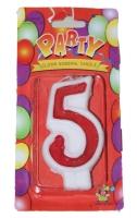 Свеча в торт цифра 5 красная
