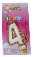 Свеча в торт цифра 4 золотые блёстки