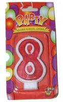 Свеча цифра 8 красная