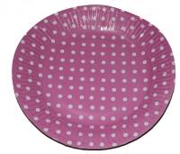 Тарелка БОЛЬШАЯ розовая в горох