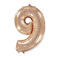 """Фольгированный шар цифра 9, (40""""/102 см),Gold Rose"""