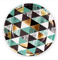 """Бумажные тарелки """"Мозаика, Бирюзовый"""", 18 см, 6шт"""
