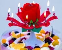 """Музыкальная свеча цветок в торт """"Роза"""""""