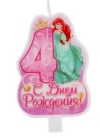 """Свеча в торт """"С днем рождения"""" цифра """"4"""" принцесса"""