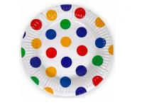 """Бумажные тарелки """"Разноцветные точки"""", 7 дюймов, 6 шт"""