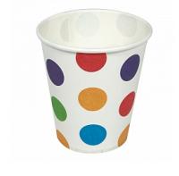"""Бумажные стаканчики """"Разноцветные точки"""", 180 мл, 6шт"""