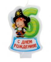 Свеча в торт. Цифра 6 Пират