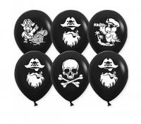 """Воздушный шар Пираты, Черный, пастель, 2 ст, 12"""""""