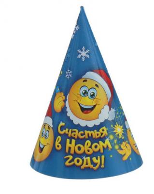 """Колпак бумажный """"Веселого Нового года"""" дед Мороз и друзья"""