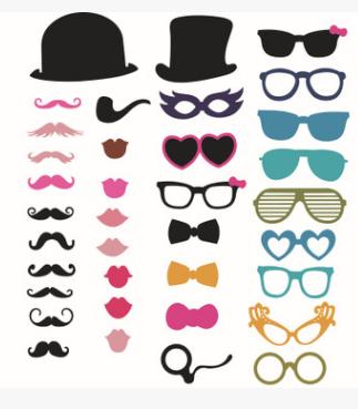 """Набор фотобутафории """"Усы, очки, шляпы"""", 36 предметов"""