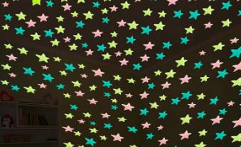 Люминесцентные световые звезды, цвет розовый, 100 шт